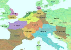 celtic Christians, map of Central Europe 5th Century