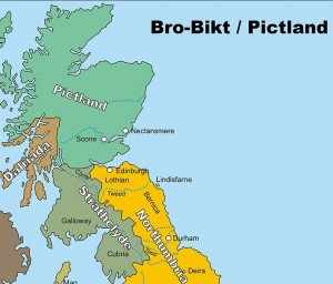 Celtic christians: map of the Northern territories around 800CE