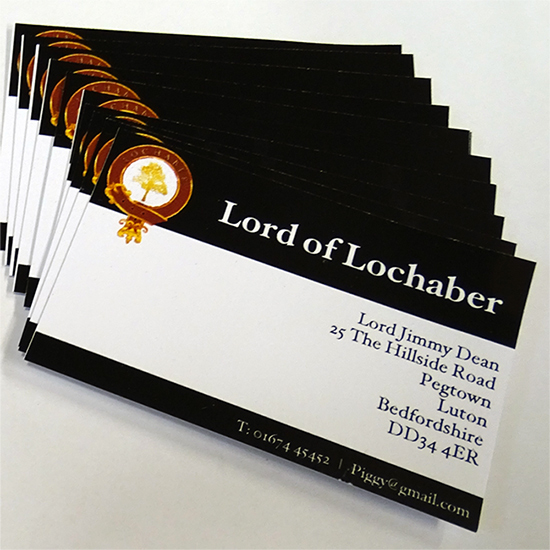 Highland titles accessories personalised scottish gifts highland business cards reheart Image collections