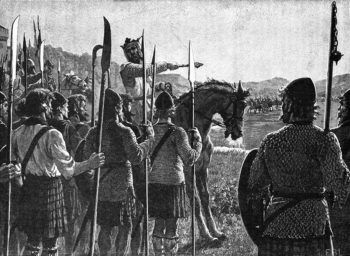 Bruce addresses his troops in the Battle of Bannockburn