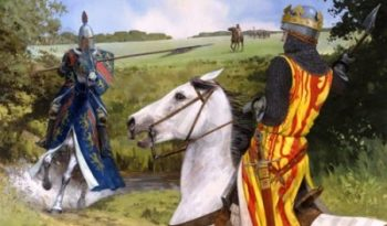 Artists impression of Sir Henry de Bohun charging on Robert The Bruce