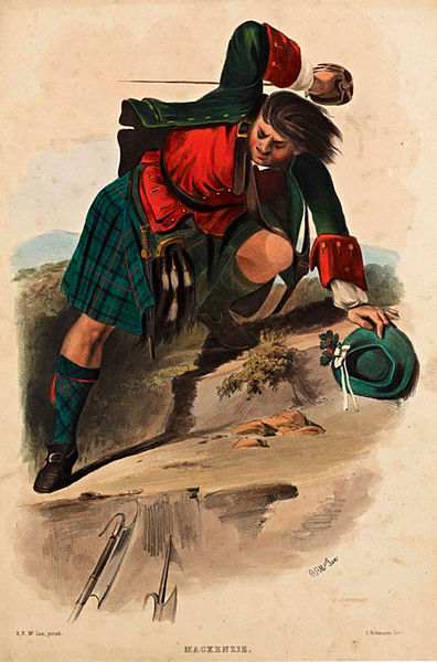 A lithograph of a member of the Scottish clan of MacKenzie