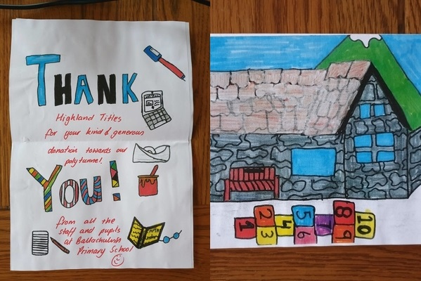 Thank You Card from the students at Ballachulish Primary School