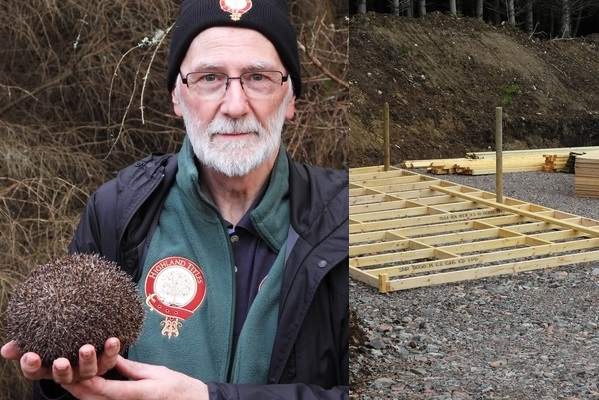 Collage of Stewart holding a hedgehog and a picture of the construction site for the Hedgehog hospital