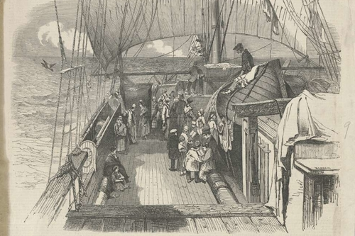 Scenes on board an Australian emigrant ship; from Illustrated London News in 1849