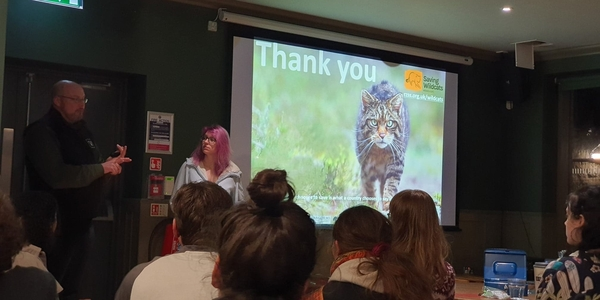 Heather from Highland Titles and David Barclay from Highland Wildlife Park presenting The Future for the Scottish Wildcat