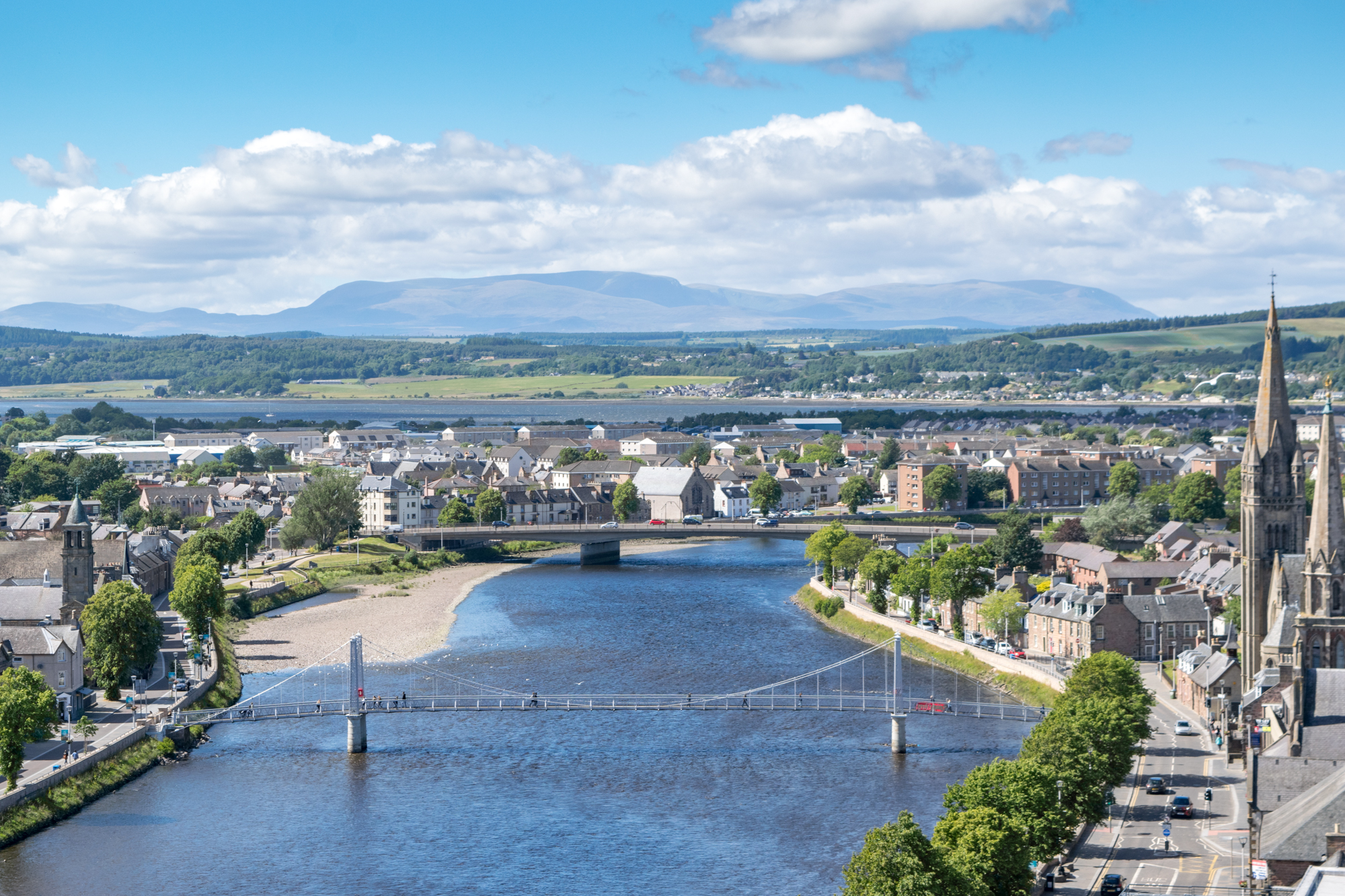The view of the River Ness and Inverness from Inverness Castle Viewpoint