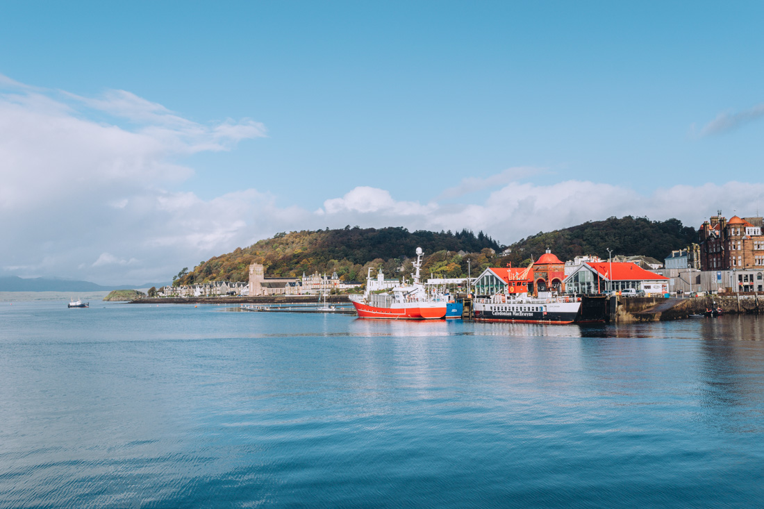 The seafront in Oban on a sunny day