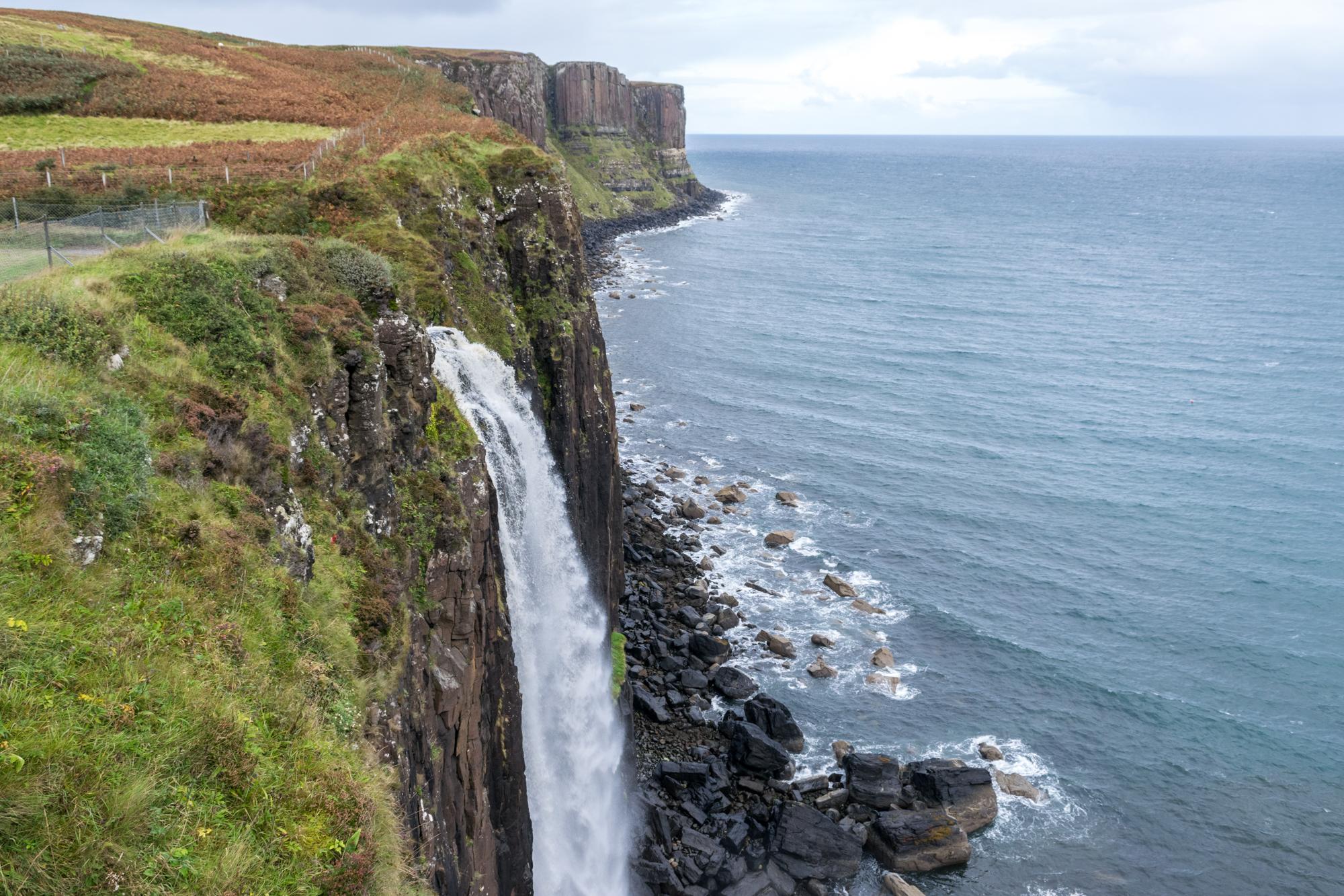Mealt Falls waterfall cascading down Kilt Rock on Skye