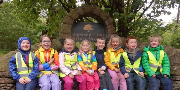 Strath of Appin Primary School students at the nature reserve