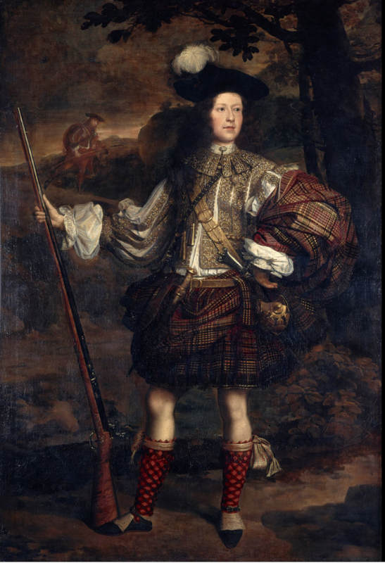 This picture shows a Highland chieftain wearing one of the earliest kind of Scottish kilt, the belted plaid, in 1680.