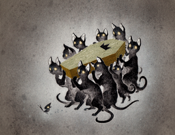 Nine black cats with white spots on their chests carrying a coffin with a crown on it were spotted by the farmer.